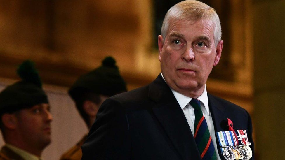 Prince Andrew at a Remembrance Sunday service in St Anne's Cathedral in Belfast
