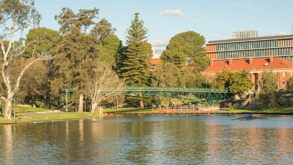 A modern photograph of the footbridge on the River Torrens close to where Dr Duncan died in 1972