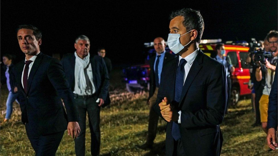 French Interior Minister Gerald Darmanin visited the scene on Monday