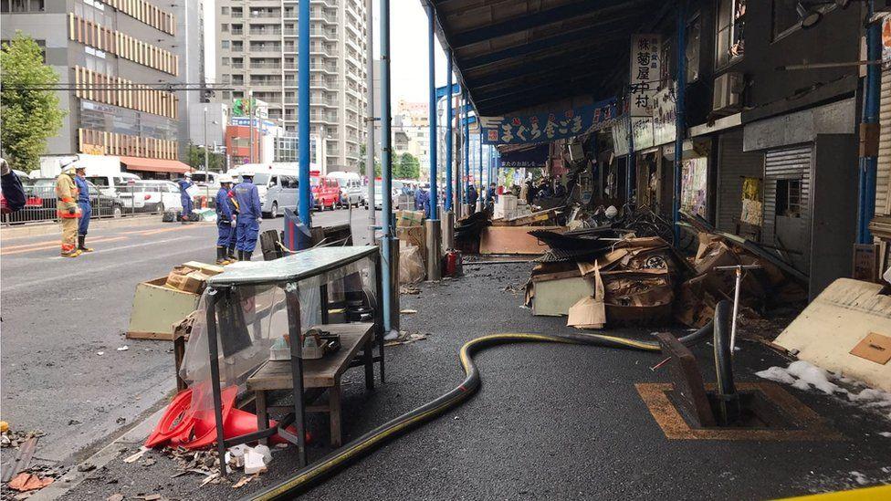 Damaged shops around Tsukii market (4 Aug 2017)