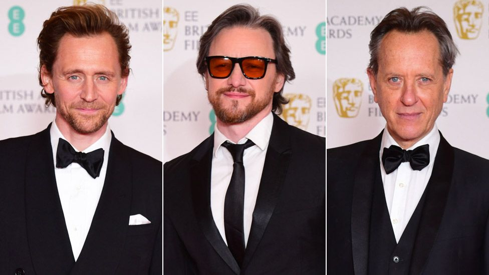 Left-right: Tom Hiddleston, James McAvoy and Richard E Grant