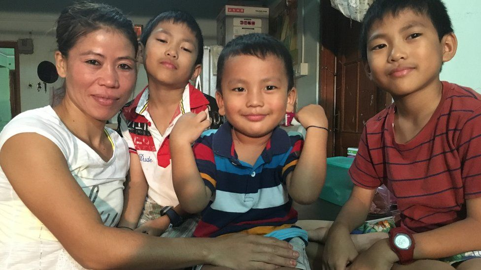Mary Kom with (left to right) Khupneivar (9), Prince (3) and Rechungvar (9)