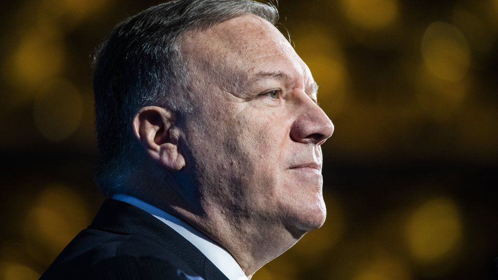 US Secretary of State Mike Pompeo speaks to the Heritage Foundation's Annual President's Club Meeting
