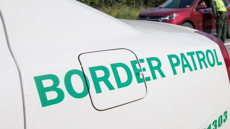 Generic border control logo on a car at checkpoint