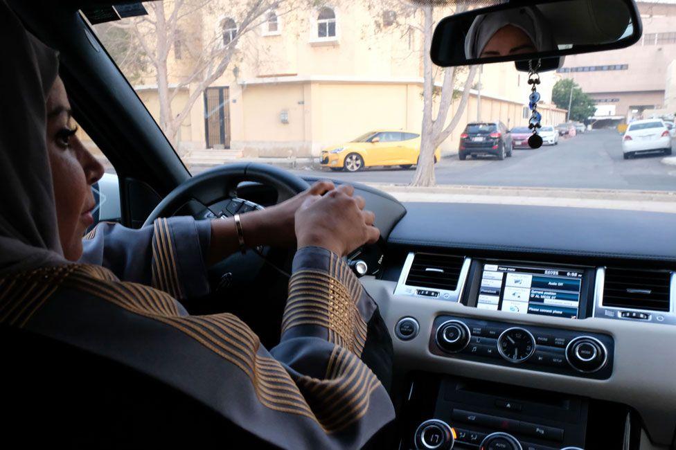 A Saudi Arabian woman driving in Jeddah