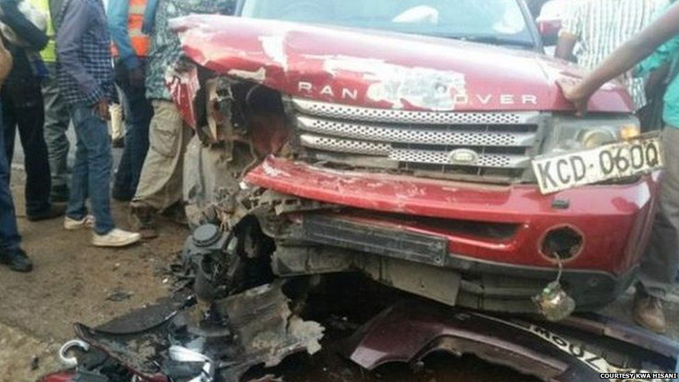 A photo of the crashed Range Rover in Nairobi, Kenya