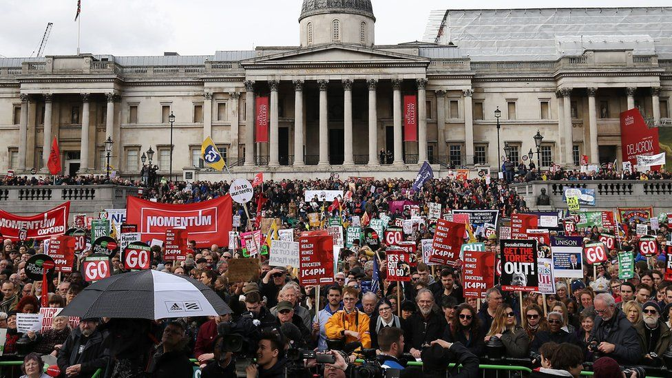 Thousands gathered at Trafalgar Square
