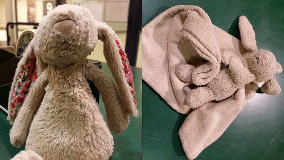 The rabbit soft toys which have been reunited with their owners