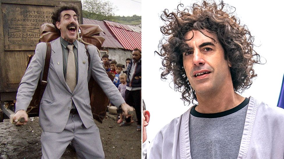 Sacha Baron Cohen in Borat 2 (left) and The Trial of the Chicago 7