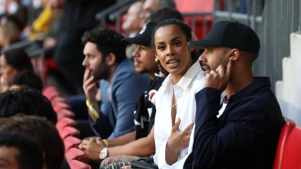 Marvin Humes and Rochelle Humes during the match