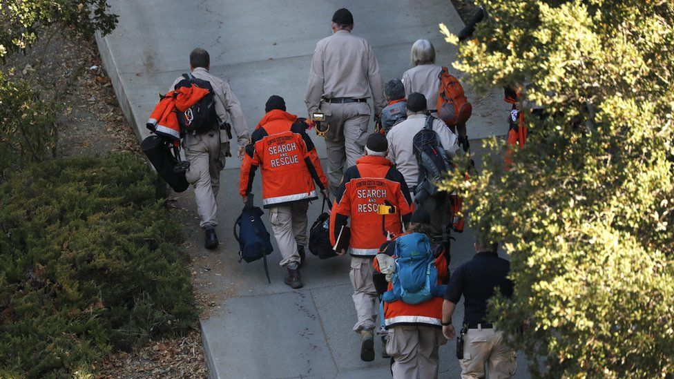 Contra Costa County Sheriff Search and Rescue crew walk up the driveway towards the scene of a shooting at a Halloween Party in short-term rental house in Orinda, California, USA, 01 November 2019.