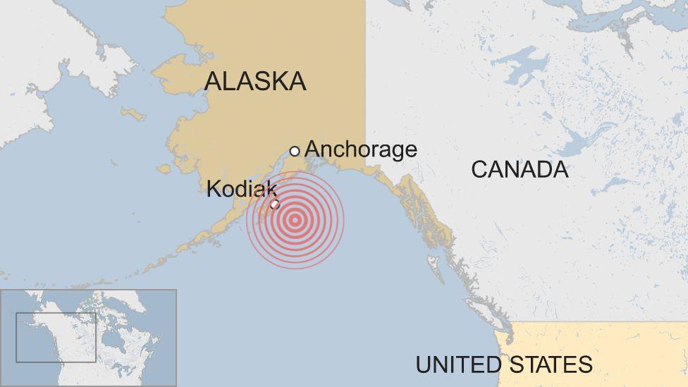 Alaska quake map