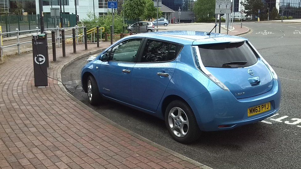 Electric car at a charging station in London