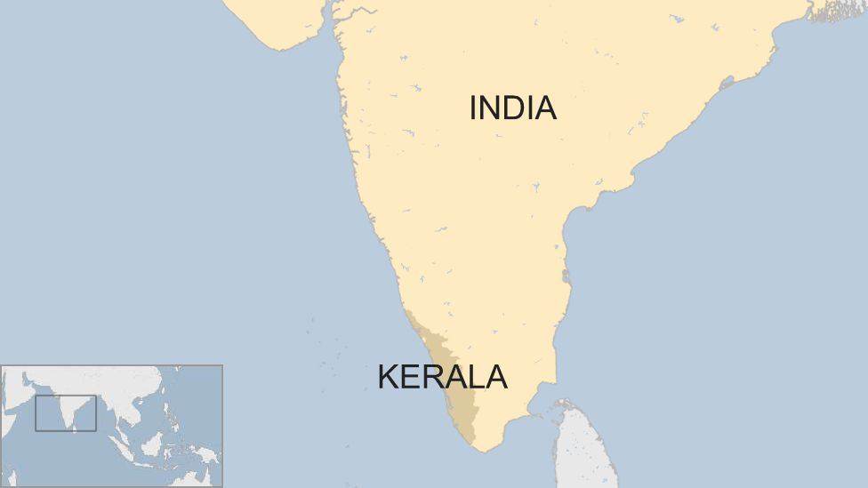 A BBC map of Kerala in southern India