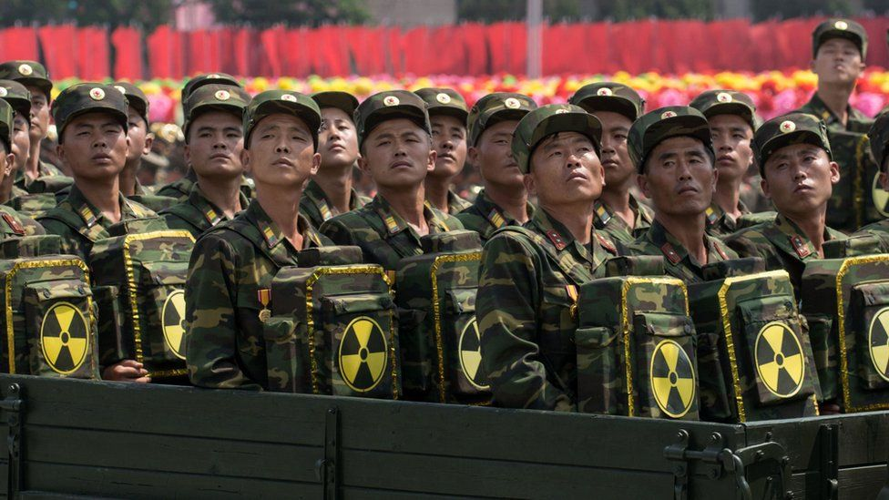 North Korean soldiers with symbols of nuclear power