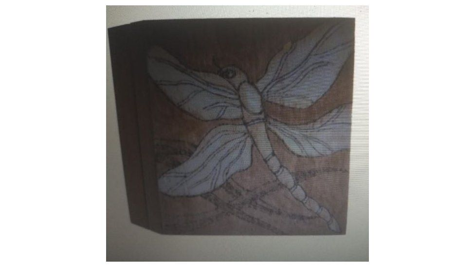 The wooden box, featuring a picture of a dragonfly, which contained Dennis's ashes