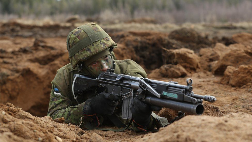 An Estonian soldier takes part in a military exercise in Tapa during March of this year