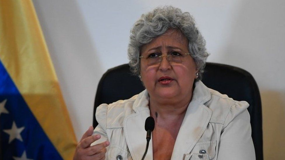The president of the Venezuelan National Electoral Council (CNE), Tibisay Lucena, speaks during a press conference about the fire on a CNE depot on the eve, at the CNE headquarters in Caracas, on March 8, 2020