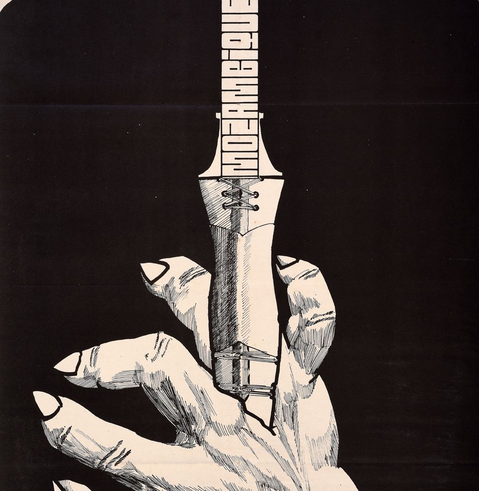 An Ospaaal poster called Day of World Solidarity with the Struggle of the People of Mozambique, 1973, showing a dagger being pushed into a hand