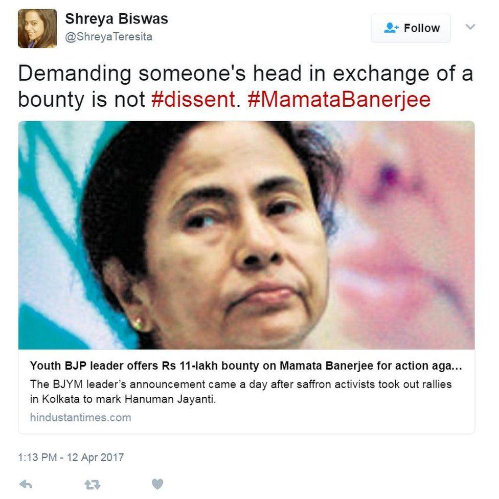 Demanding someone's head in exchange of a bounty is not #dissent. #MamataBanerjee