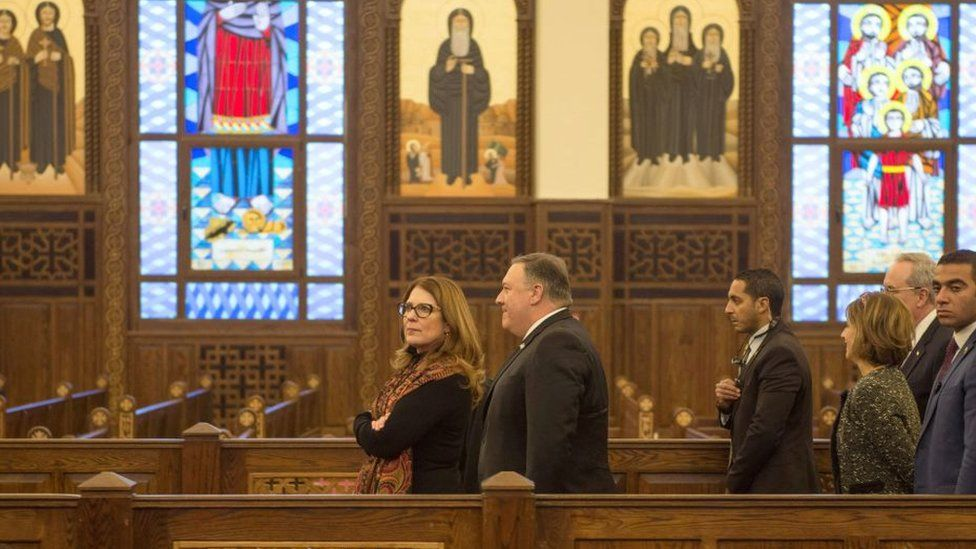 US Secretary of State Mike Pompeo (C) and his wife Susan (C-L) visit the newly inaugurated Cathedral of the Nativity Christ