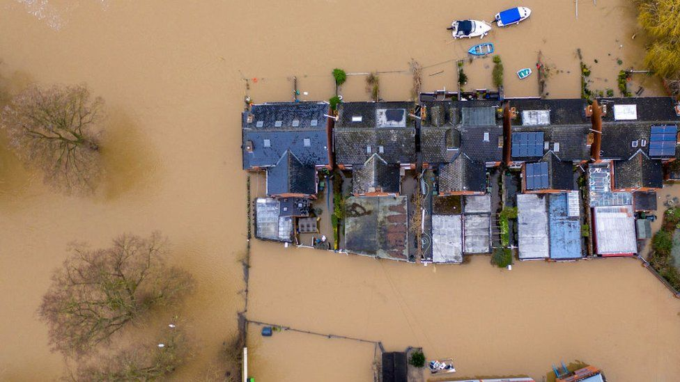 Flooded homes on the banks of the Severn near Worcester