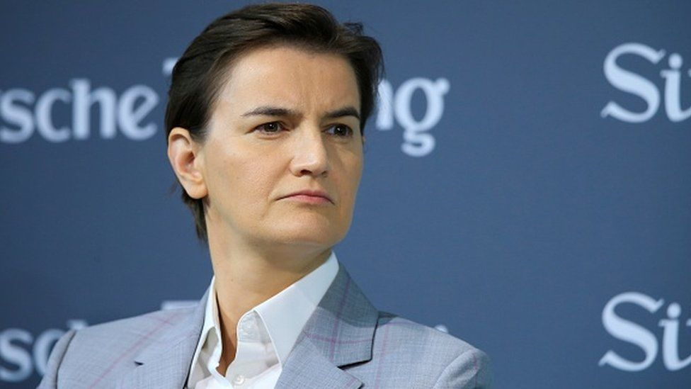Serbian Prime Minister Ana Brnabic attends a session within the 12th Economic Summit in Berlin