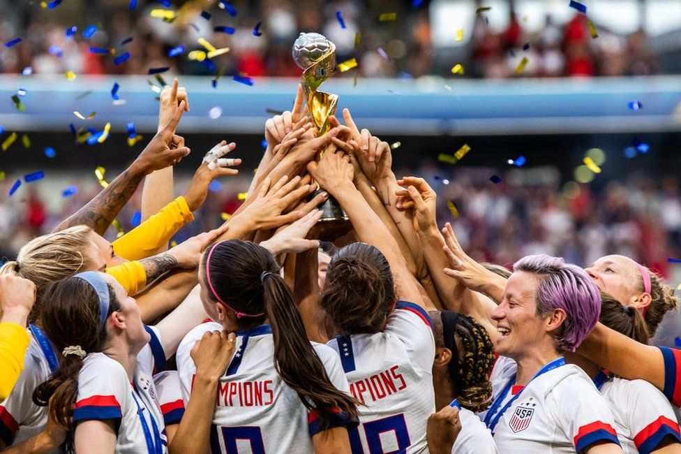 USA women's national team celebrating with trophy after the 2019 FIFA Women's World Cup Final match between The United States of America and The Netherlands.
