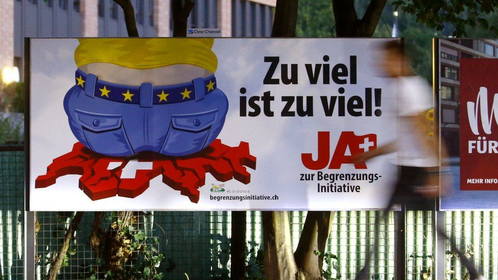 """Poster for Swiss People's Party in Zurich reading: """"Too much is too much!"""""""