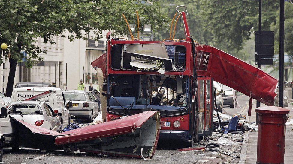 The wreck of a bus destroyed by a bomb stands in Tavistock Square in central London (8 July 2005)
