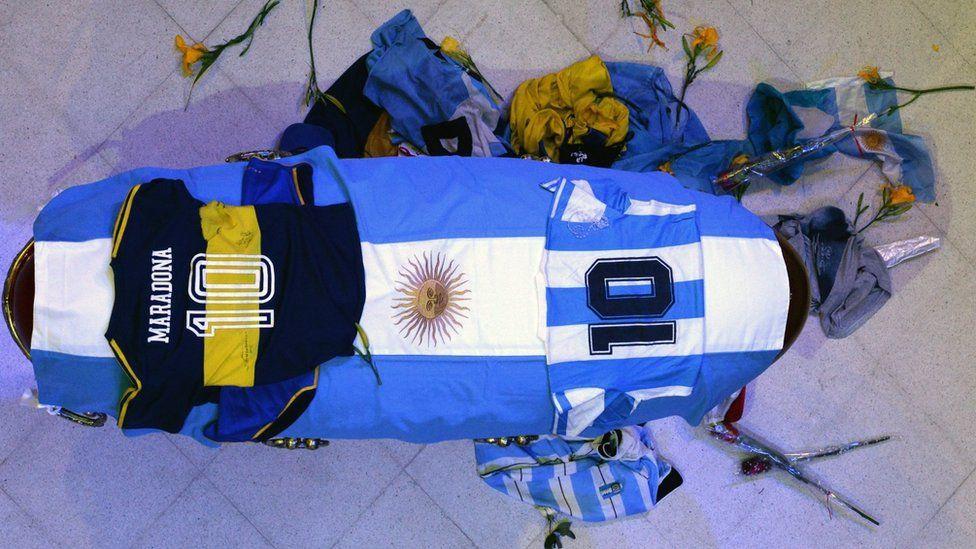 The casket of Argentinean football legend Diego Maradona