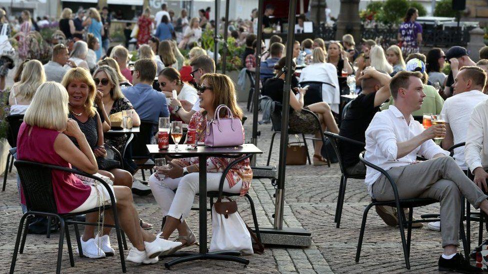 People drinking in central Helsinki