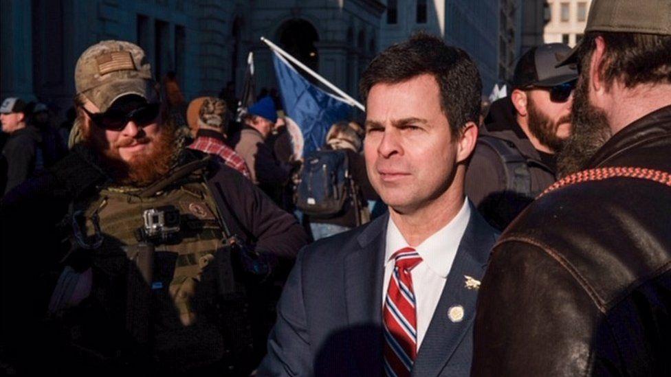 Virginia lawmaker John McGuire, supporting gun-rights protesters in Richmond, Virginia, 20 Jan 2020