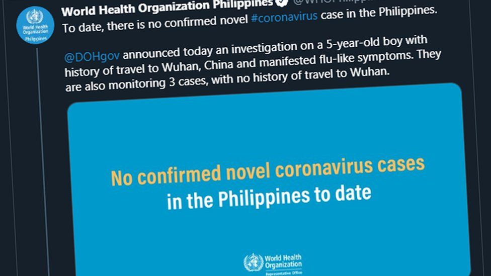Screengrab of a tweet by the World Health Organisation in the Philippines