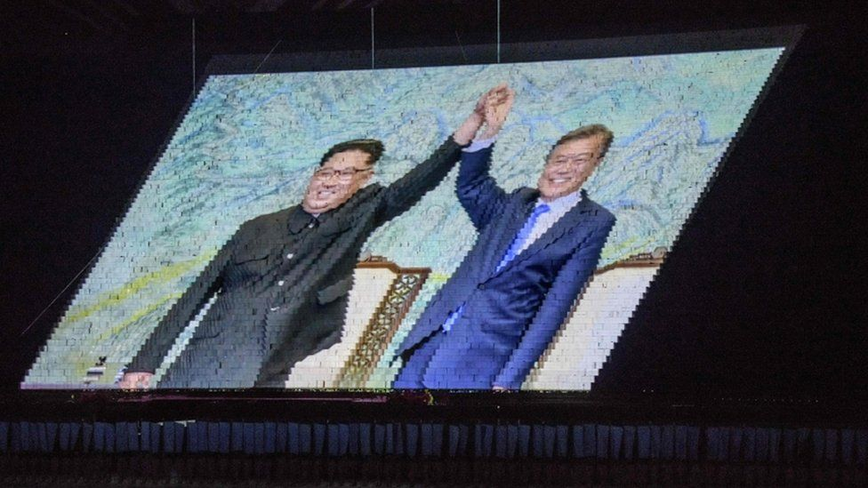An image of Kim Jong-un and Moon Jae-in projected onto placards at the mass games in Pyongyang