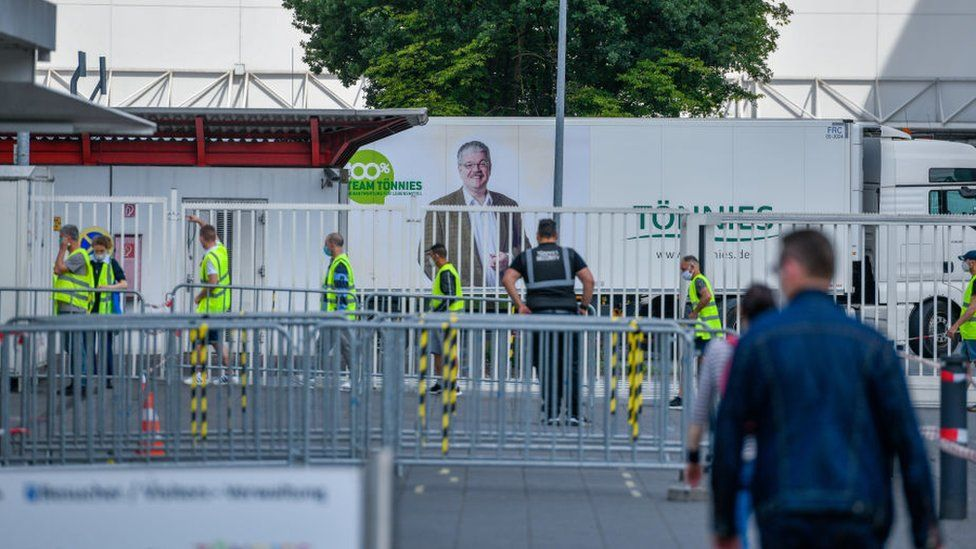 Tönnies meat plant in Germany which has been struck by coronavirus infections