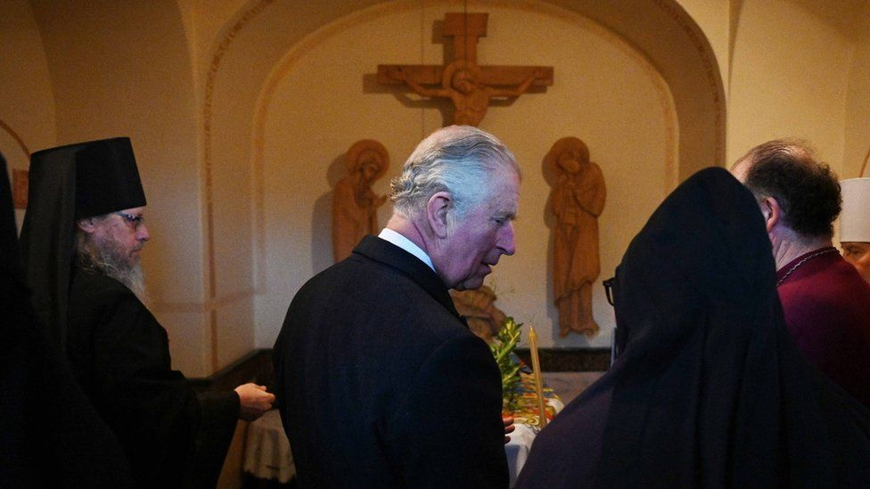 The Prince of Wales at the resting place of his grandmother, Princess Alice
