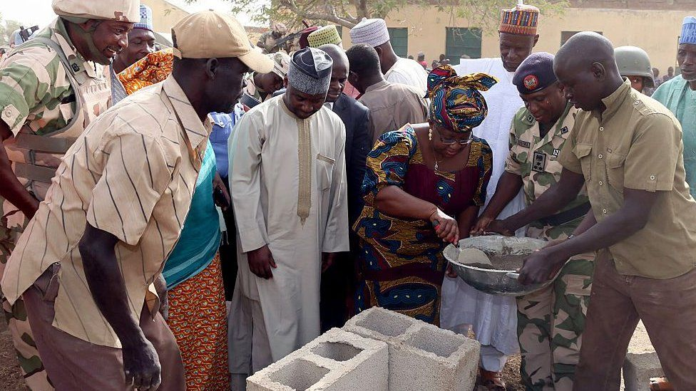 Ngozi Okonjo-Iweala lays foundation of new classrooms for a school in Chibok burnt down by Boko Haram fighters - 2015