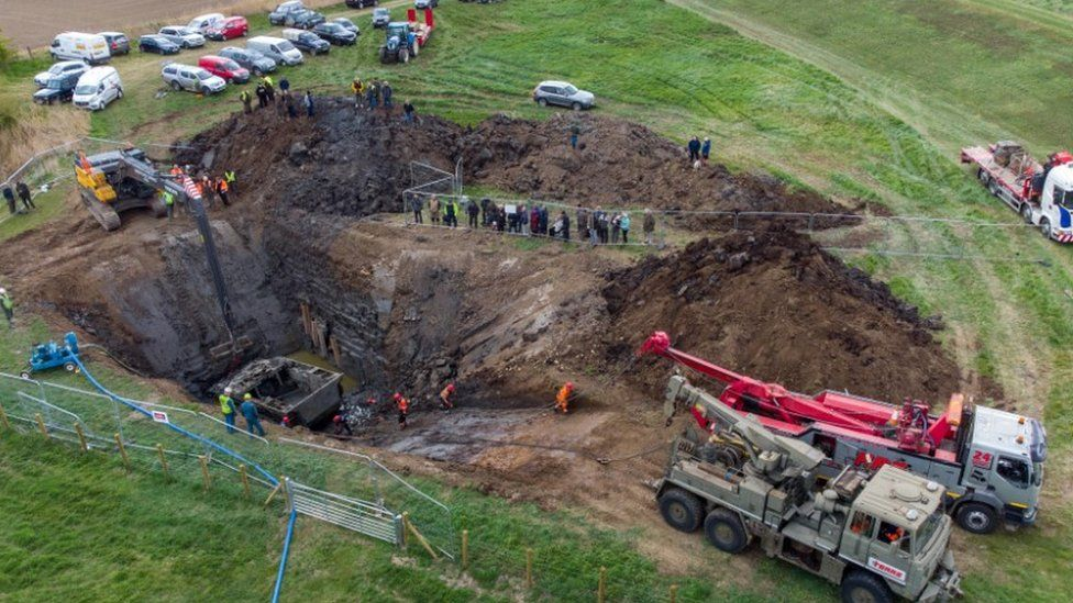 Tank being recovered