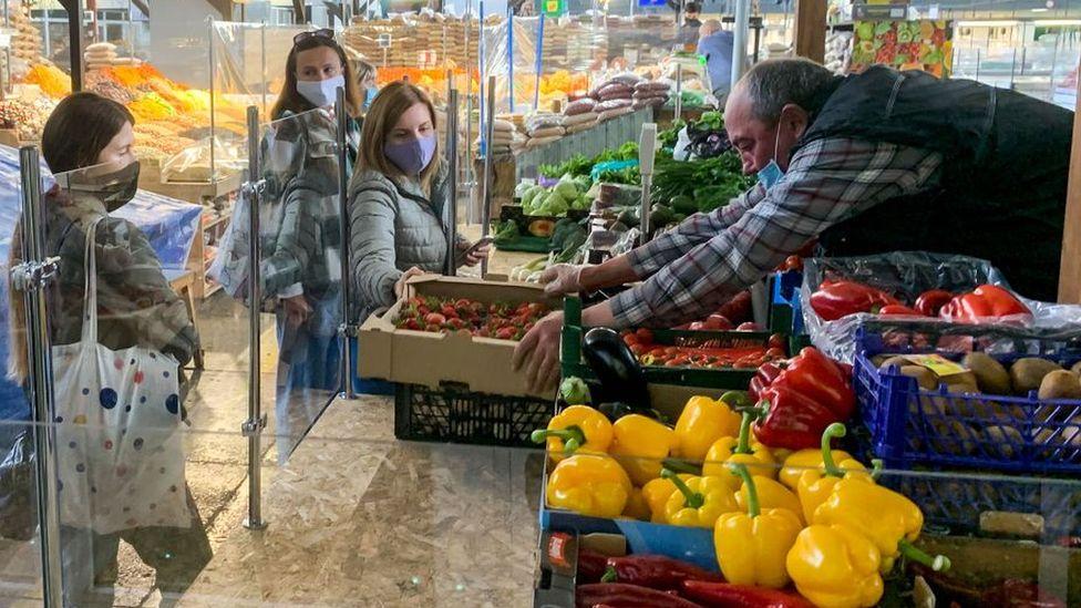 Zhytniy food market resumed operations after the ban, amid the coronavirus disease COVID-19 outbreak in Kyiv, Ukraine