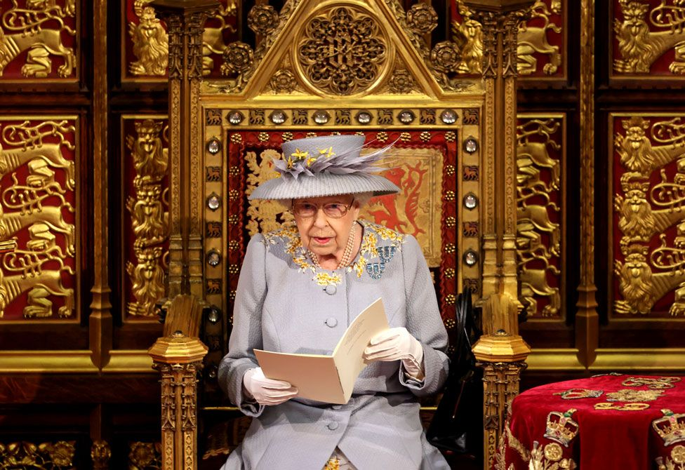 The Queen delivers her speech in the House of Lord's Chamber during the State Opening of Parliament in Westminster, London