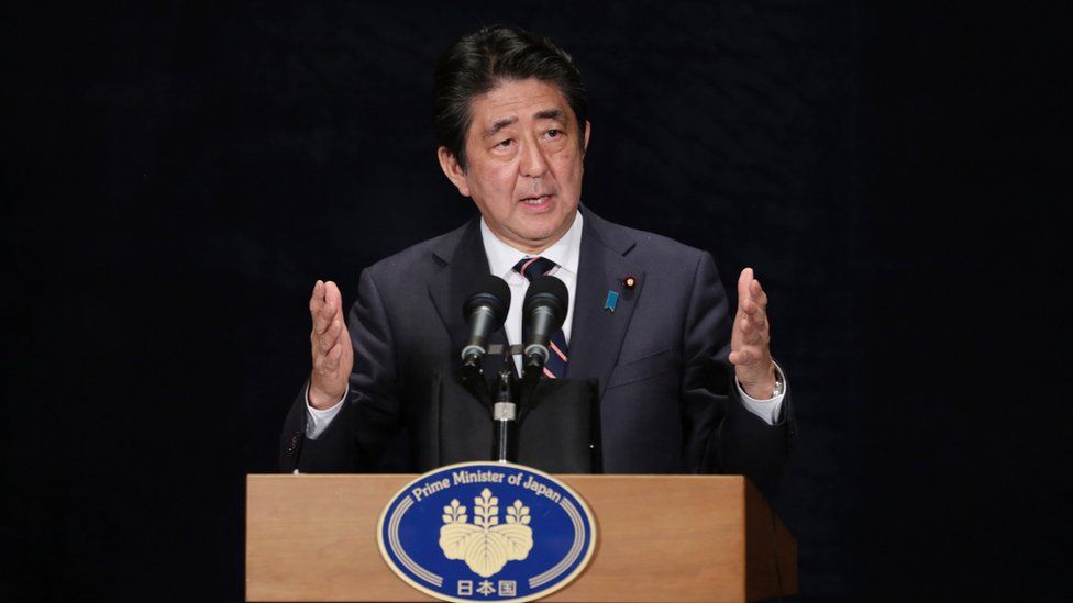 Japanese Prime Minister Shinzo Abe speaks during a press conference after the conclusion of the G-20 Summit in Hangzhou in eastern China's Zhejiang Province, Monday, 5 September 2016.