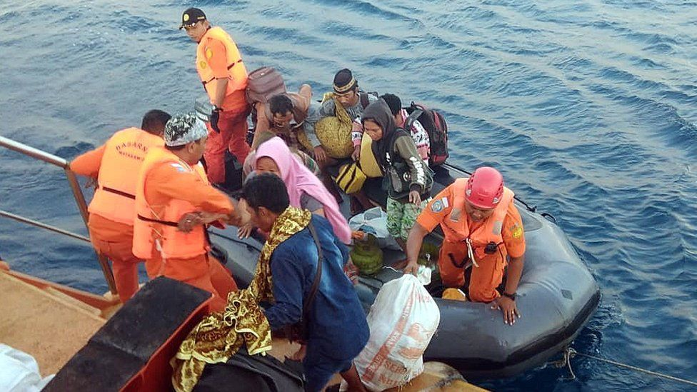 A handout photo made available by the Indonesian Search and Rescue (Basarnas