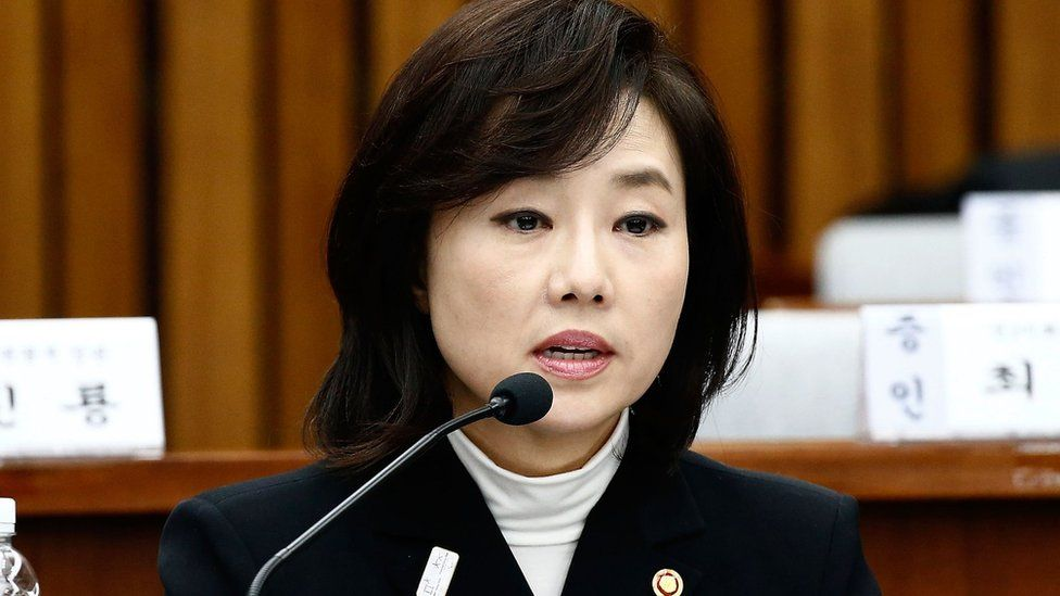 Cho Yoon-sun, minister of Culture, Sports and Tourism. answers questions during a parliamentary hearing of the probe on 9 January 2017 in Seoul, South Korea
