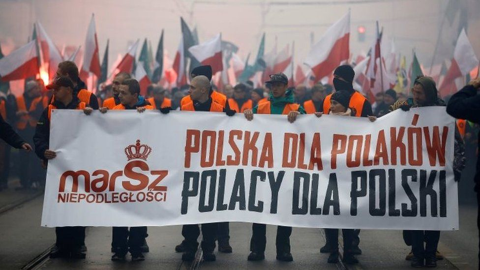 In 2015, some participants carried a banner that read Poland for Poles - Poles for Poland
