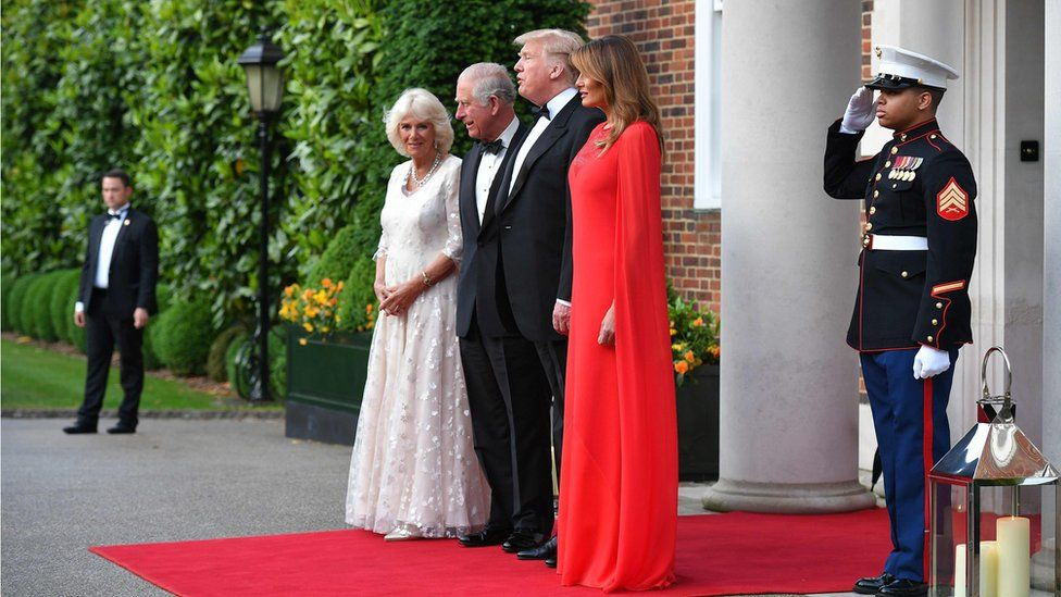Prince Charles, the Duchess of Cornwall, Donald Trump and Melania Trump before a banquet at Winfield House