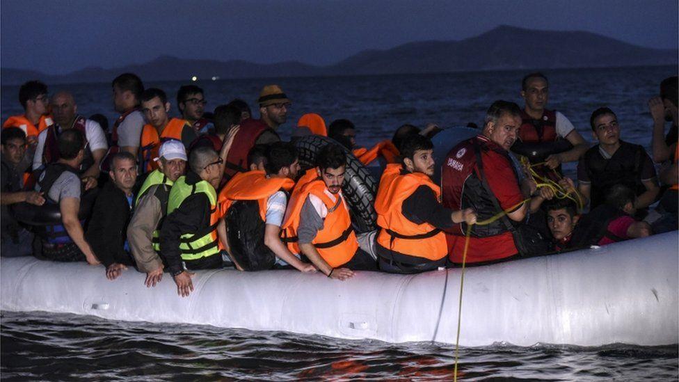 migrant boat off Greece