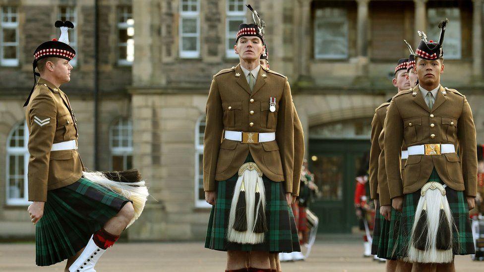 The Royal Regiment of Scotland parade at Redford Barracks in Edinburgh