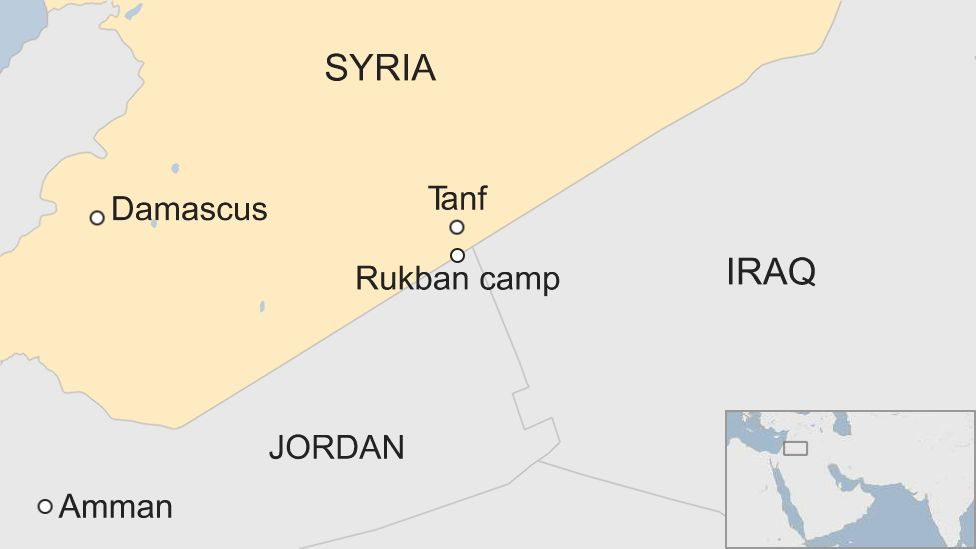 Map of Syria showing location of Rukban camp
