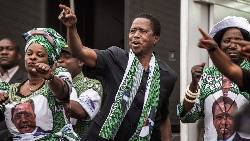 President Edgar Lungu on the campaign trail